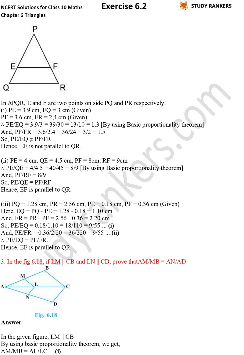 NCERT Solutions for Class 10 Maths Chapter 6 Triangles Exercise 6.2 Part 2