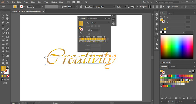 How to create Golden Text Effect in Adobe Illustrator?