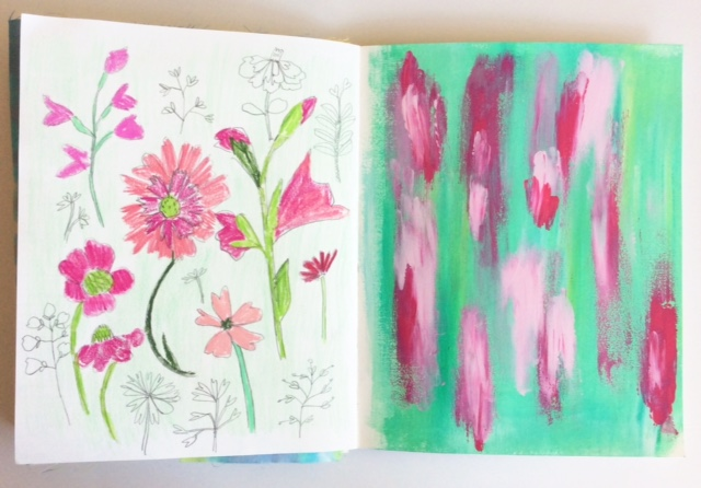 sketchbooks, 2x2 Sketchbook, 2x2, painting, florals, collaboration, Dana Barbieri, Anne Butera