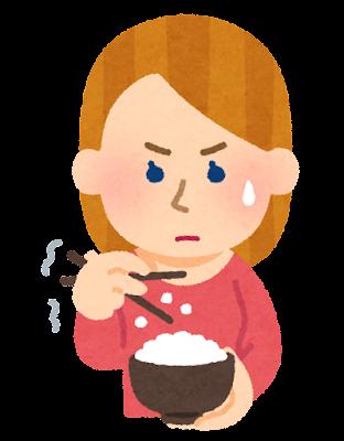 箸でご飯を食べるのが下手な外国人のイラスト(女性)