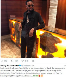 D'banj Regains Missing Gold Chain.