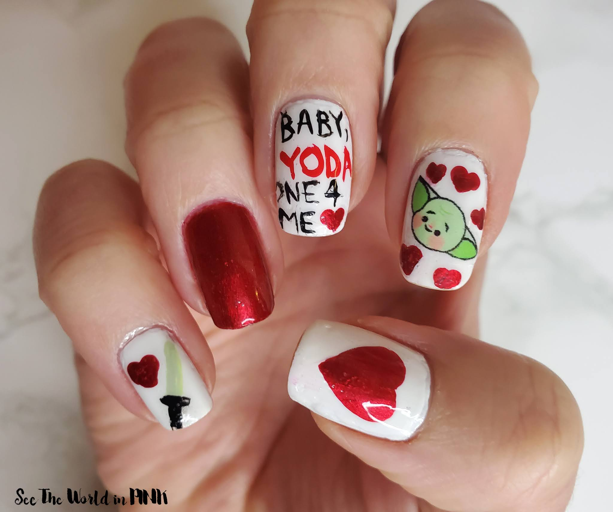 Manicure Monday - Baby, Yoda One For Me Valentine's Day Nails
