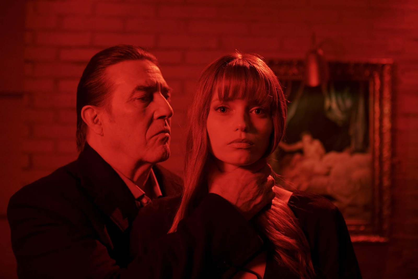 Ciarán Hinds and Abbey Lee in Elizabeth Harvest