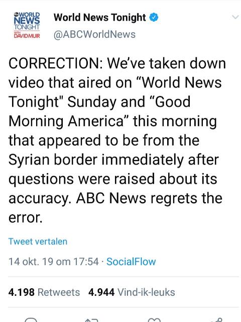 قناة أميركية تعتذر لفبركتها فيديو لاستهداف تركيا مدنيين بسوريا