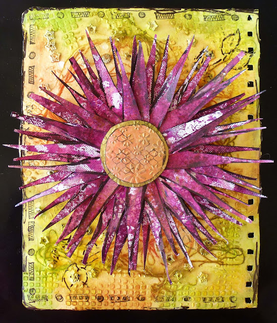 Art Journal, texture, embossing,Magicals, Colour Crush, flowers, metals, stamping