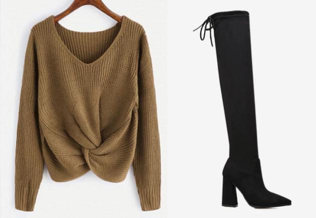 Zaful sweater knee-high boots