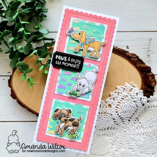 Enjoy the Moment Dog Card by Amanda Wilcox | Puppy Friends Stamp Set and Slimline Die Sets by Newton's Nook Designs #newtonsnook