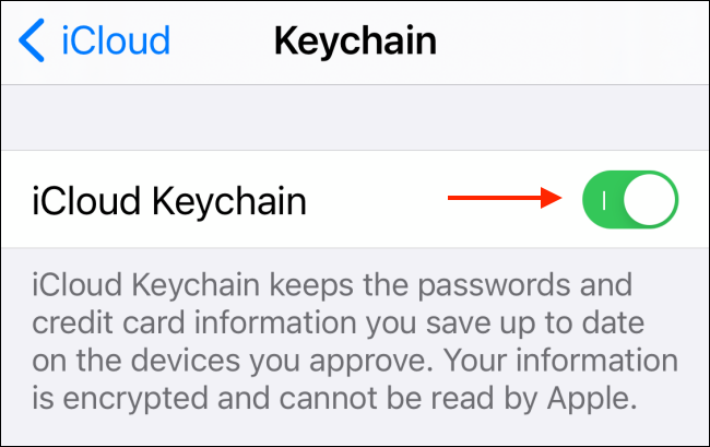 انقر لتعطيل iCloud Keychain
