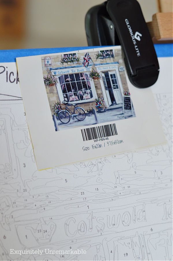 Lightweight Book Light For painting clipped onto paint by number canvas