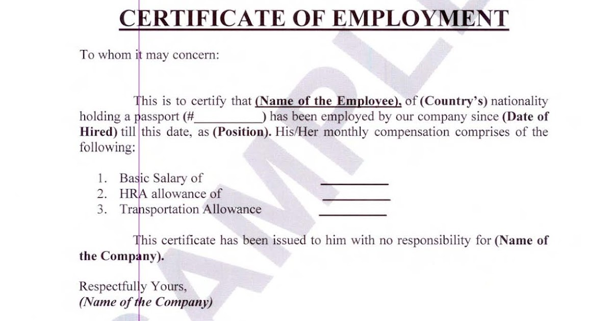 Doc Sample of Certificate of Employment with Compensation – Employee Certificate Sample