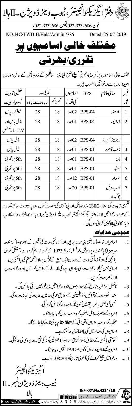 Executive Engineer Tubewell Division Hala Jobs 2019