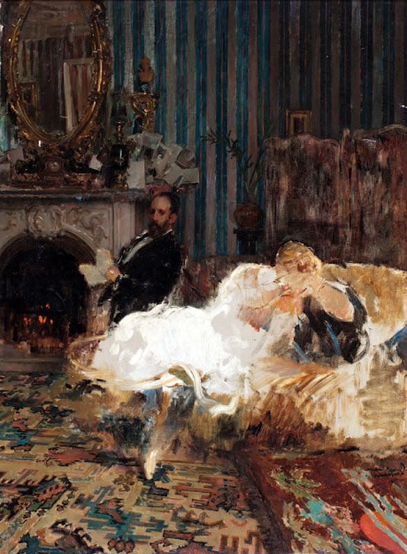 Pareja en un interior, Enrique Martínez Cubells, Mujeres bretonas, Pintor español