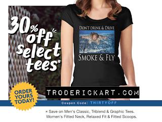 coupon code THIRTYOFF on selected tees at troderickart.com