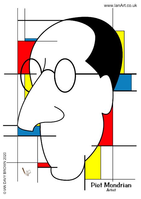 Piet Mondrian symbolic caricature by Ian Davy Brown IDB IanArt