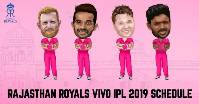 VIVO IPL 2019 Rajasthan Royals (RR) Full Schedule