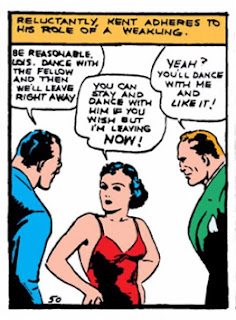 Action Comics (1938) #1 Page 7 Panel 2: Lois Lane refuses to put up with the boys' sexist shit at a dance.