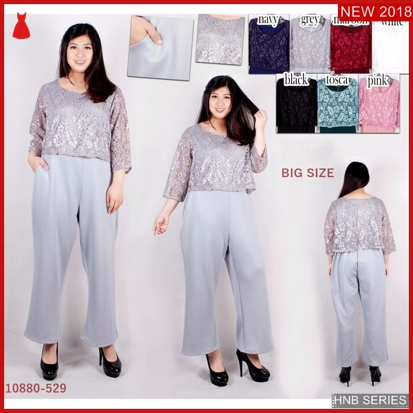 HNB294 Model Dress Batik Kombi Brokat Ukuran Besar BMG Shop