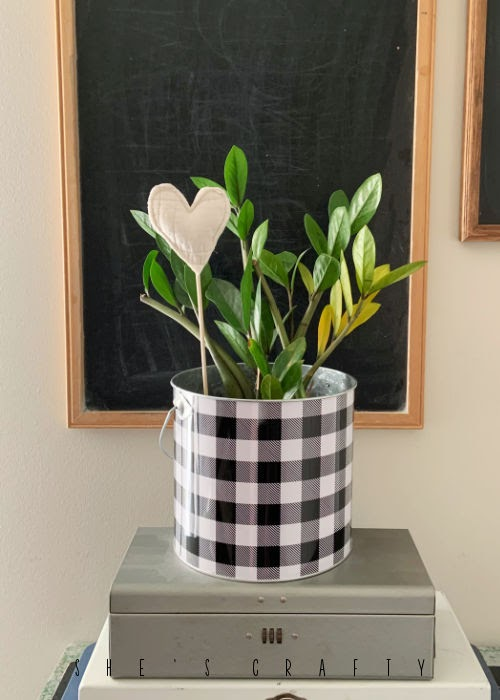 quilted fabric plant picks- quilted heart pick in zz plant