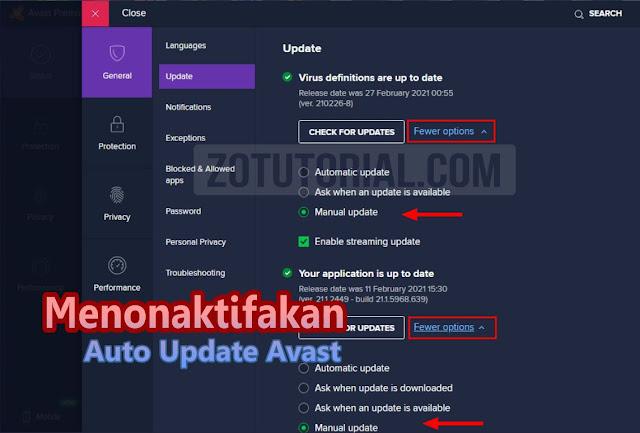 Cara Mematikan Update Otomatis Antivirus Avast