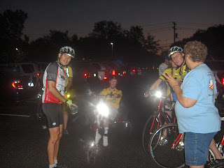Reid, myself, another rider, and Pitzie from PCAS, waiting to start