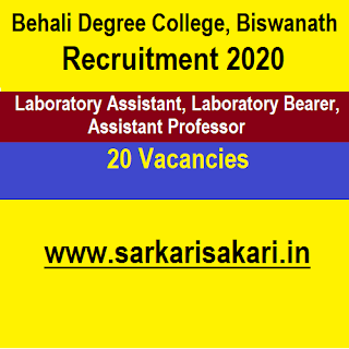 Behali Degree College, Biswanath Recruitment 2020 - Laboratory Assistant And  Bearer// Assistant Professor