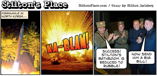 stilton's place, stilton, political, humor, conservative, cartoons, jokes, hope n' change, north korea, nukes, missiles, remodeling, demolition, toilets