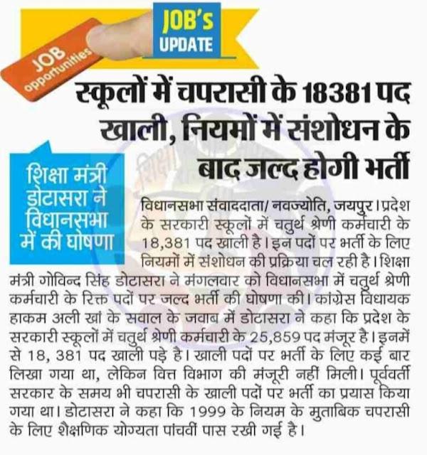 Rajasthan School Peon Recruitment  2021