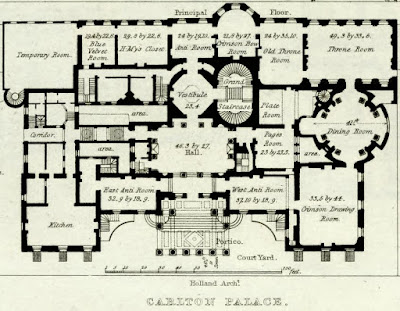 Room layout of principal floor of Carlton House from Illustrations of the Public Buildings of London by J Britton and A Pugin (1825) anotated from key by Rachel Knowles
