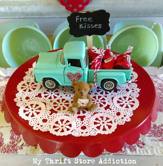 whimsical vintage kitchen valentine vignette