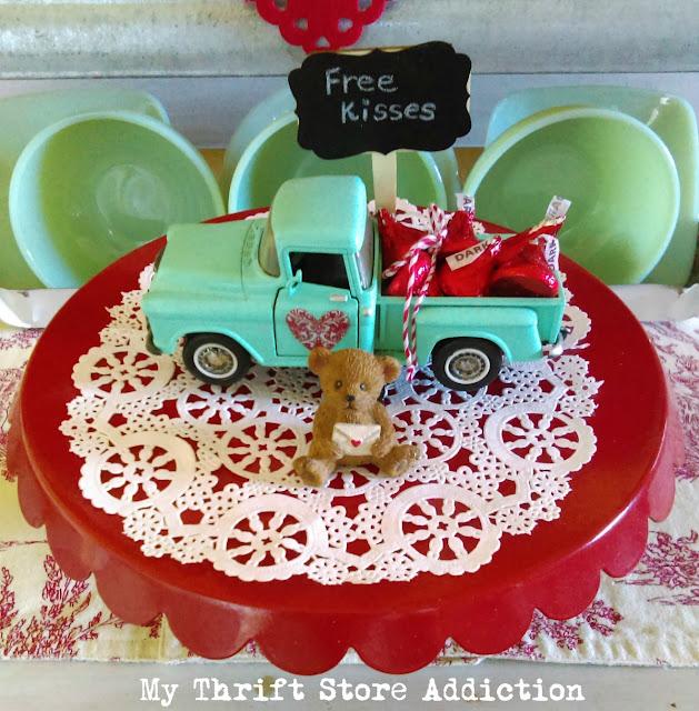 whimsical vintage kitchen valentine vignette