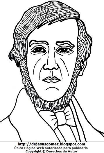 Imagen de Esteban Echevarría para colorear pintar imprimir. Dibujo de Esteban Echevarría de Jesus Gómez