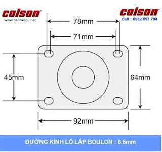 Bảng vẽ kích thước tấm lắp bánh xe đẩy inox vật liệu bánh xe PU đỏ | 2-4408-944
