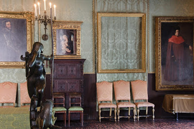 Picture provided by the FBI showing the empty frames of missing paintings after the theft at the Isabella Stewart Gardner Museum