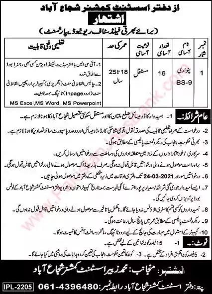 Latest Jobs in Pakistan Revenue Department Shujabad