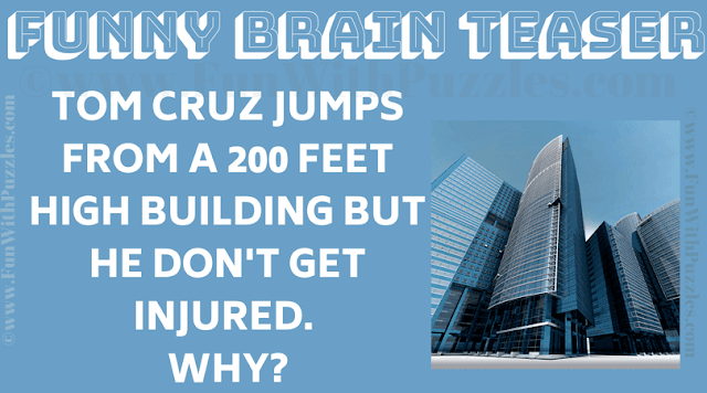 Tom Cruz Jumps from a 200 feet high building but he don't get injured. Why?