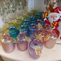 Pearlescent glass flower vases small purple pink yellow blue