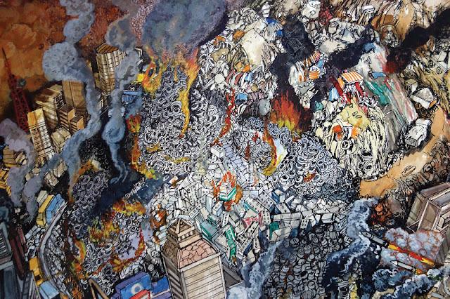 Ilustración del daño ambiental en el tema de ecología en acuarela