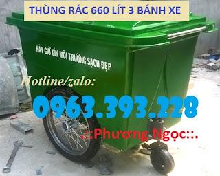 Thùng rác nhựa composite 3 bánh xe, xe gom rác 660 Lít