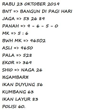 Kode Syair Sgp Rabu 23 Oktober 2019 Liveresultdata
