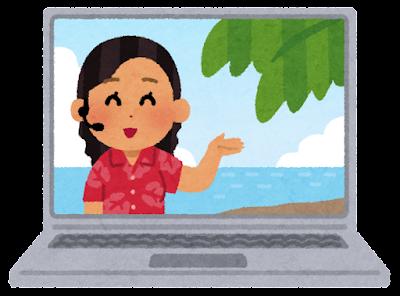 オンライン旅行のイラスト(パソコン・海外)