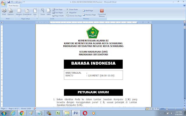 Contoh Soal Ujian Madrasah (UM) Bhs. Indonesia Madrasah Ibtidaiyah Tahun 2021