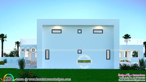 Left elevation rendering of the Flat roof contemporary house