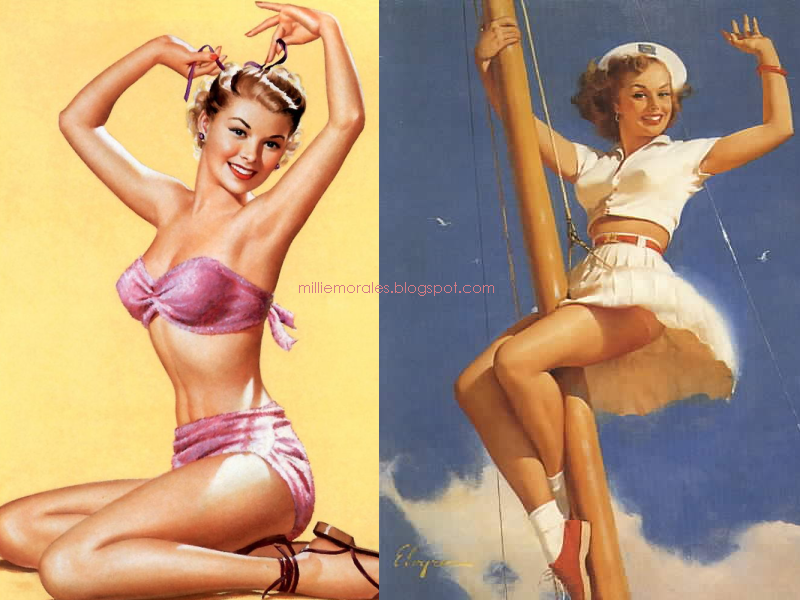 ilustración de 2 chicas sexy estilo pin up
