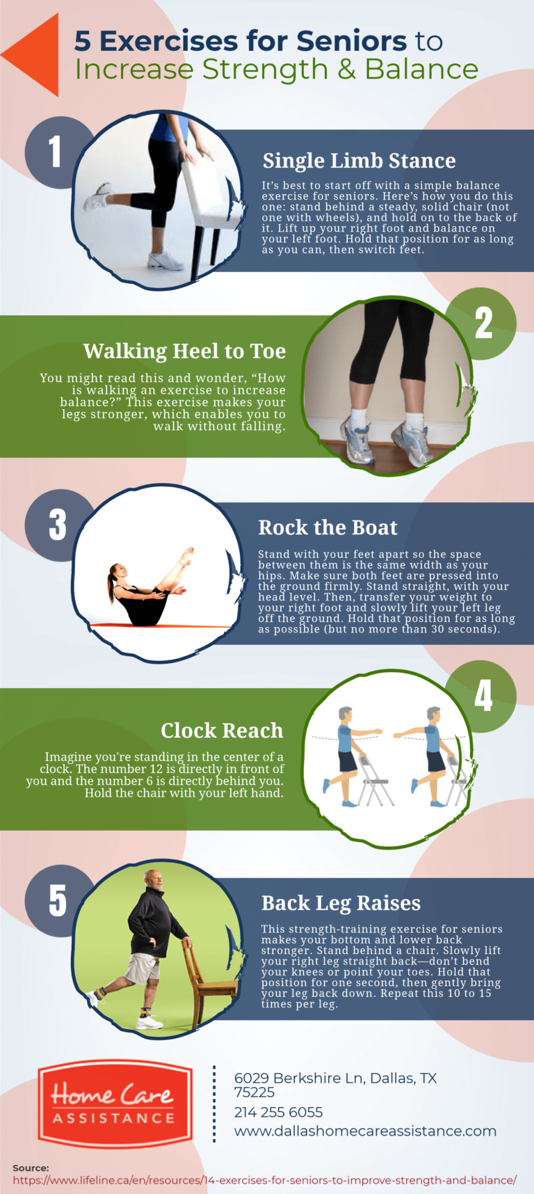 5 Exercises for Seniors to Increase Strength & Balance #infographic