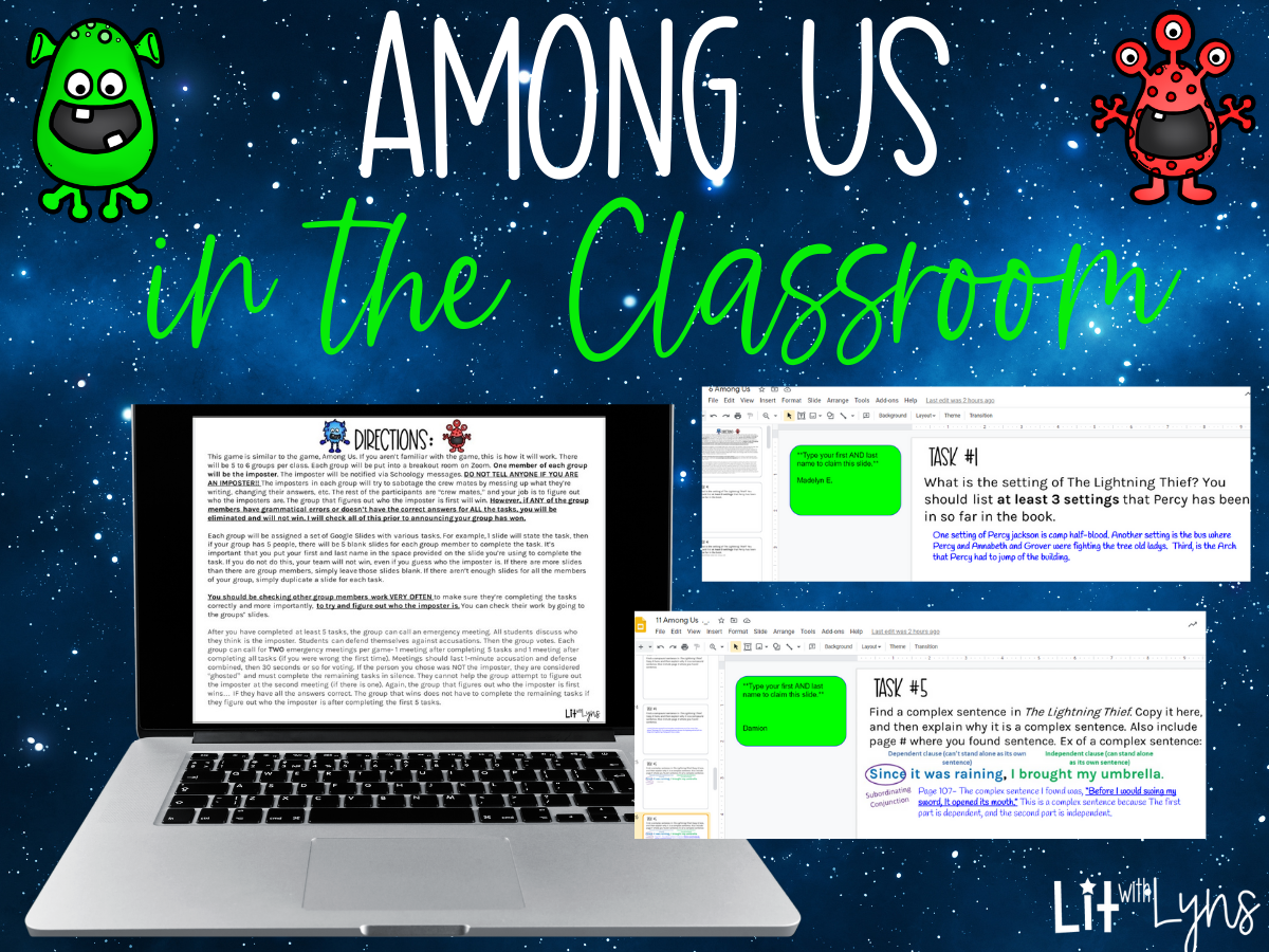 Among Us In The Classroom Freebie Lit W Lyns
