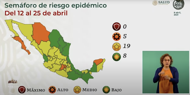 En color verde del Semáforo de Riesgo Epidémico, ocho entidades federativas