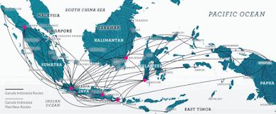 peta jalur penerbangan antarpulau di Indonesia www.simplenews.me