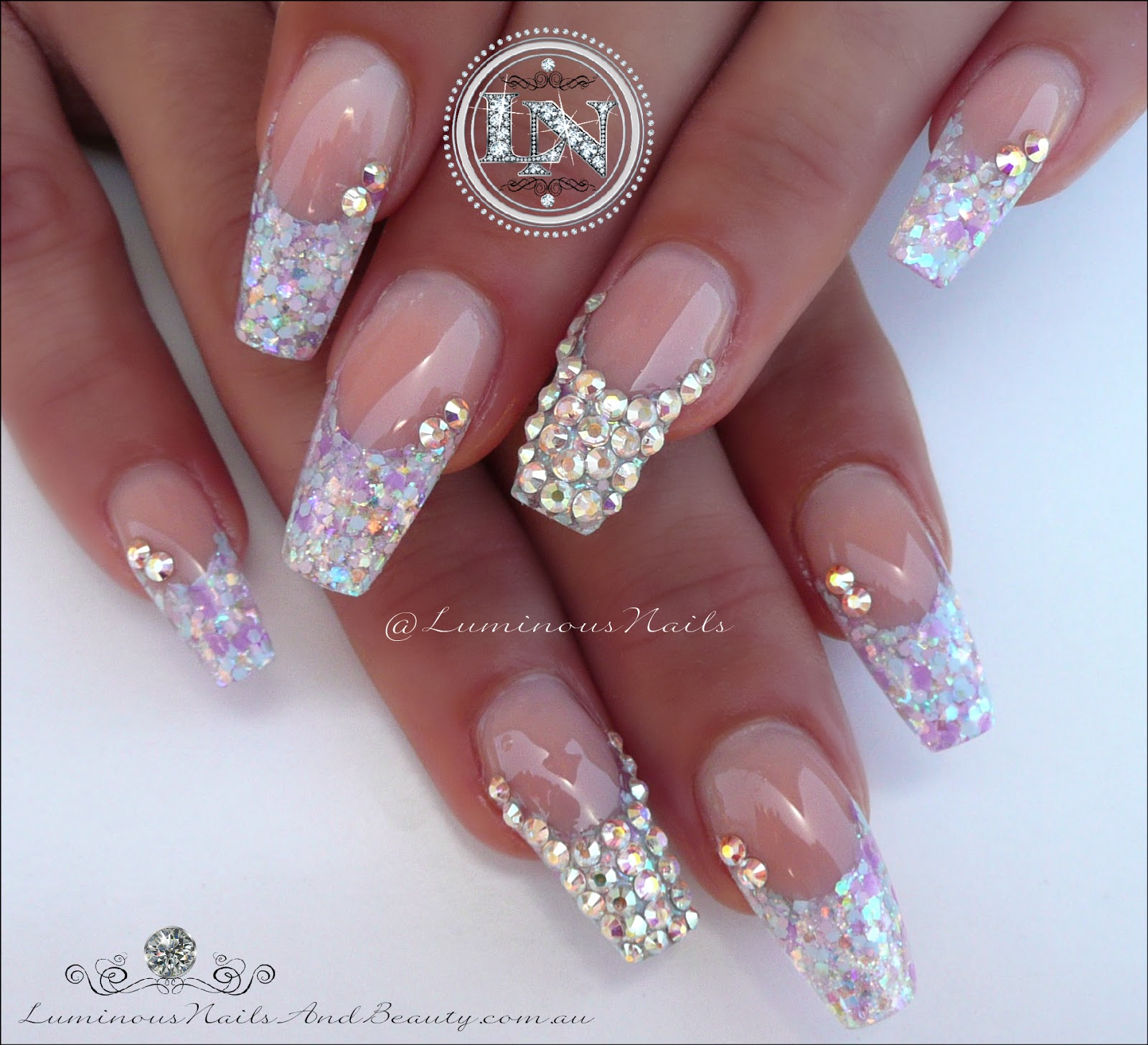 Luminous Nails: Candy Coated Nails with Bling! Acrylic Nails.