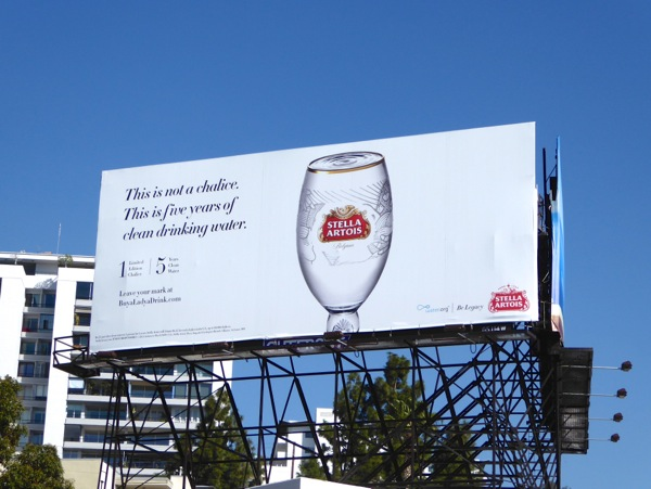 Stella Artois Not chalice clean drinking water billboard