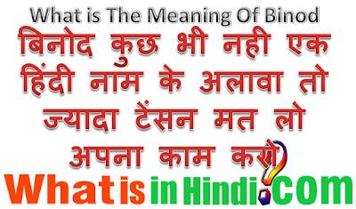 Binod का मतलब क्या होता है